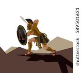 angry spartan warrior with... | Shutterstock .eps vector #589501631