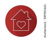 lovers home flat linear long... | Shutterstock .eps vector #589501661