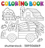 coloring book farm truck with... | Shutterstock .eps vector #589506869