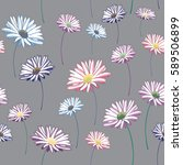 daisies seamless pattern.... | Shutterstock .eps vector #589506899
