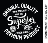 new york city superior denim ... | Shutterstock .eps vector #589507139