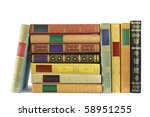 stack of vintage books isolated on white background, blank labels free copy space - stock photo