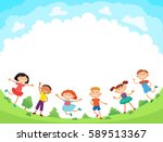 children are jumping on the... | Shutterstock .eps vector #589513367