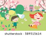 landscape with cute children in ... | Shutterstock .eps vector #589515614