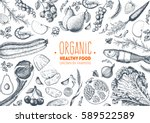 Healthy food frame vector illustration. Vegetables, fruits, meat hand drawn. Organic food set. Good nutrition. | Shutterstock vector #589522589