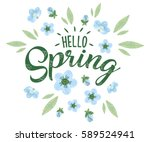 hello spring hand sketched... | Shutterstock .eps vector #589524941