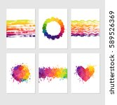 set of colorful cards with... | Shutterstock .eps vector #589526369