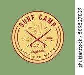 surfing logo. vintage outdoor... | Shutterstock .eps vector #589527839
