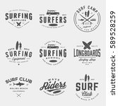 vector set of surfing logos ... | Shutterstock .eps vector #589528259
