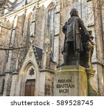 Bach monument stands since 1908 in front of the St Thomas Kirche church where Johann Sebastian Bach is buried in Leipzig Germany