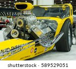 "Small photo of DETROIT, MI/USA - February 24, 2017: ""More Aggravation"", a 1964 NHRA dragster and Ridler trophy winner, on display at the Detroit Autorama, a showcase of custom and restored cars."
