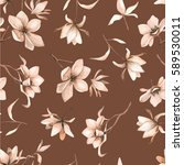 seamless floral pattern with... | Shutterstock .eps vector #589530011