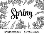 horizontal poster with flower ... | Shutterstock .eps vector #589533821
