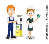 cleaning service  cleaner with... | Shutterstock .eps vector #589534889