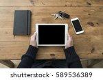 tablet pc top view header | Shutterstock . vector #589536389