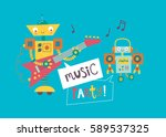music party. card with cute... | Shutterstock .eps vector #589537325