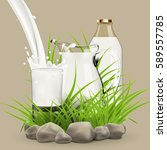 illustration of fresh milk... | Shutterstock .eps vector #589557785
