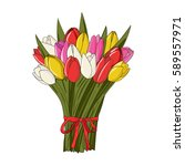 different colors tulips spring... | Shutterstock .eps vector #589557971