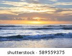 ocean waves and beach tide on a ... | Shutterstock . vector #589559375