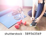 active woman in sport fitness ... | Shutterstock . vector #589563569