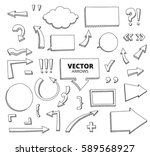 set of hand drawn doodle arrows.... | Shutterstock .eps vector #589568927