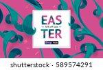 easter sale banner. spring... | Shutterstock .eps vector #589574291