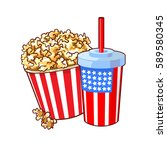 vector american style cup and... | Shutterstock .eps vector #589580345