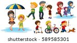 people doing different actions... | Shutterstock .eps vector #589585301