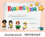 reading star certificate | Shutterstock .eps vector #589585469