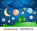 surreal landscape with hanging... | Shutterstock .eps vector #589589129