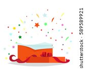 open red gift box with bow and...   Shutterstock .eps vector #589589921