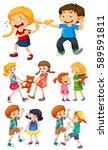 big kids fighting with little... | Shutterstock .eps vector #589591811