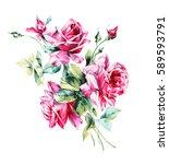 watercolor rose   bunch of... | Shutterstock . vector #589593791