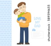 vector cute young father in... | Shutterstock .eps vector #589594655