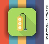 extension cord flat icon with... | Shutterstock .eps vector #589595441