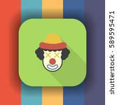 clown flat icon with long... | Shutterstock .eps vector #589595471