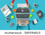 flat design office designer and ... | Shutterstock .eps vector #589596815