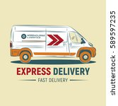express delivery service logo...   Shutterstock .eps vector #589597235