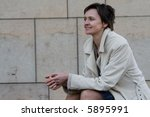 a mature woman in long overcoat | Shutterstock . vector #5895991