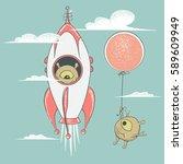 alien travel in rocket.cute... | Shutterstock .eps vector #589609949