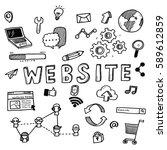 hand draw business doodles... | Shutterstock .eps vector #589612859