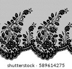 seamless black vector lace... | Shutterstock .eps vector #589614275
