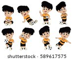 cartoon soccer kid with... | Shutterstock .eps vector #589617575