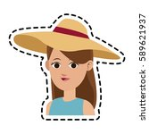 pretty young woman icon image  | Shutterstock .eps vector #589621937