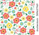 floral pattern with flowers and ... | Shutterstock .eps vector #589637969