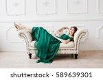 beautiful brunette girl in... | Shutterstock . vector #589639301