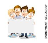 cartoon doctors holding empty... | Shutterstock .eps vector #589650359