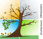 four seasons in one tree  ... | Shutterstock .eps vector #589663601