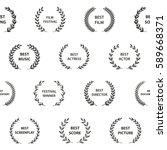 black and white film award... | Shutterstock .eps vector #589668371