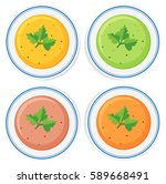 different types of soup in...   Shutterstock .eps vector #589668491